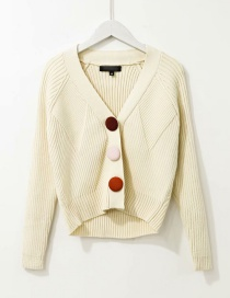 Fashion Beige Textured Plush Button Short Knitted Cardigan