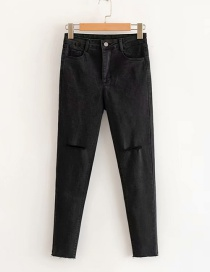 Fashion Black Stretch Ripped Washed Raw Edges Jeans