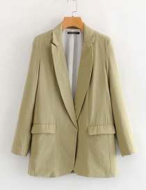Fashion Green Big V-neck Small Suit