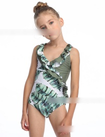 Fashion Green Leaf On White Ruffled Flamingo Print One Piece Swimsuit For Children