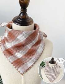 Fashion Light Brown Double-sided Plaid Baby Triangle Towel