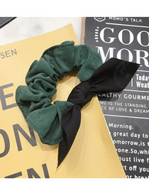 Fashion Dark Green Contrasting Suede Bow Bunny Ear Rope