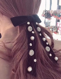 Fashion Black Geometric Bow Hair Clip With Diamond Flowers