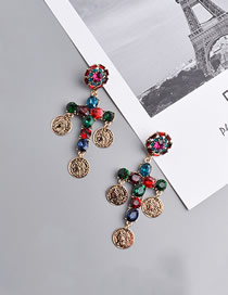 Fashion Color Round Human Head Diamond Cross Earrings