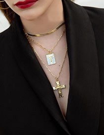 Fashion Golden Geometric Portrait Cross Three-layer Necklace