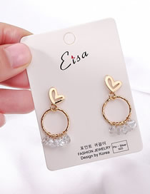 Fashion Golden Love Ring Zircon Stud Earrings