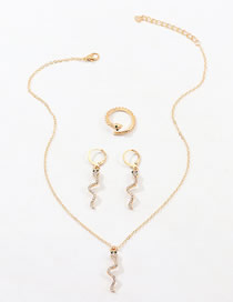 Fashion Golden Diamond Snake Earring Necklace Ring Set