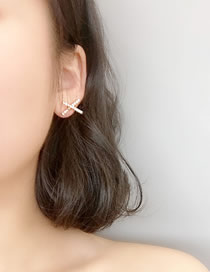 Fashion Golden Diamond Letter X Earrings