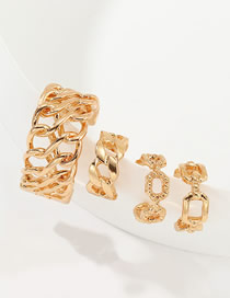 Fashion Golden Geometric C-shaped Cutout Earrings