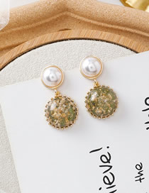 Fashion B Green Gold Foil Pearl Earrings