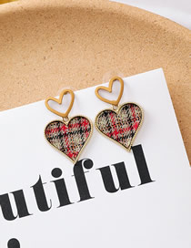 Fashion A Love Short Plaid Fabric Heart Earrings