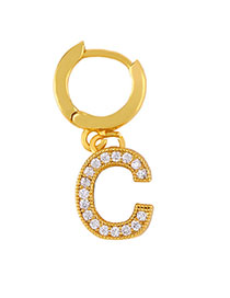 Fashion C Golden Diamond Letter Earrings