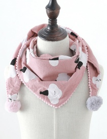 Fashion Clouds Pink Cloud Print Fur Ball Children's Triangle Scarf
