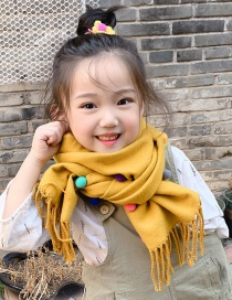 Fashion Yellow Fight Color Reversible Cashmere Ball Fringed Children Scarf
