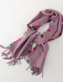Fashion Purple Color Matching Reversible Cashmere Ball Fringed Children Scarf
