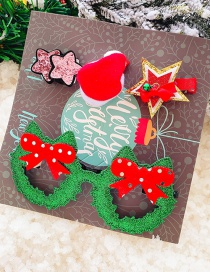 Fashion 10 # Bow-tie Christmas Ring Set Of 5 Bow Star Children Hair Clip Eyes Set