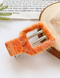 Fashion Square Section-orange Children's Hair Clip With Square Stitching