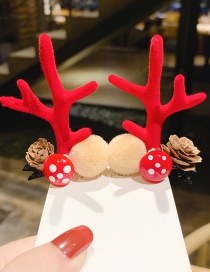 Fashion Rose Red Mushroom Hair Ball Antlers Hair Clip Set