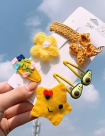 Fashion Yellow Flower Series # 8piece Set Flower Star Avocado Hair Clip Set