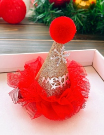 Fashion Golden Christmas Hat-lace Trim Christmas Hat Lace Children Snowflake Hairpin