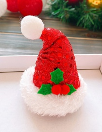 Fashion Red Christmas Hat-plush Edge Christmas Hat Sequined Raw Hair Clip For Children