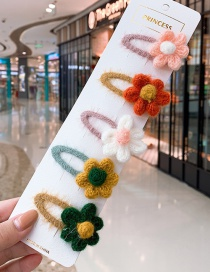 Fashion Knitted Flower Series # 5piece Set Flower Hit Color Children Hair Clip Set