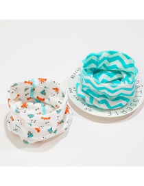 Fashion 10 # Fox + Green Ripple (2 Pieces Combination) Fox Ripple Children's Neck Set