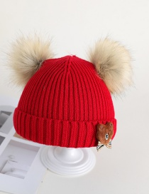 Fashion Red Fur Ball Bear Baby Hat