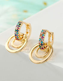 Fashion Golden Diamond Openwork Earrings