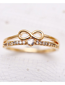 Fashion Golden Crystal Lucky Number 8 Ring