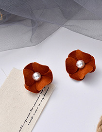 Fashion Brown Flocked Flower Pearl Stud Earrings