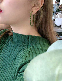 Fashion Green Flocking Geometric Hoop Earrings