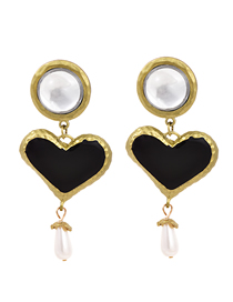 Fashion Love Diamond Heart Pearl Stud Earrings