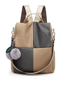 Fashion Brown Contrast Stitching Backpack