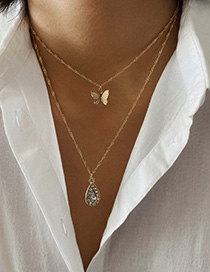 Fashion Gold 2711 Butterfly Double Drop Necklace With Diamonds