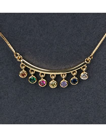 Fashion Color Curved Curved Necklace With Diamonds