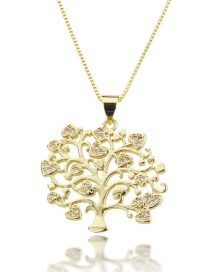 Fashion Gold-plated Love Heart Hollow Tree Necklace With Diamonds