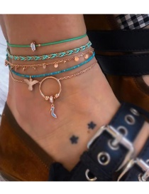 Fashion Rose Gold Woven Circle High Heel Eagle Anklet Set