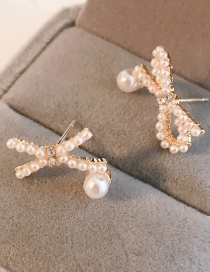 Fashion Golden Bow Earrings With Diamonds And Pearls