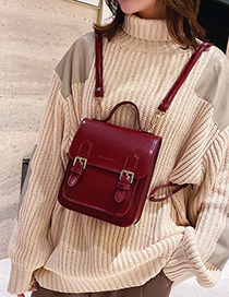 Fashion Red Belt Buckle Stitching Backpack