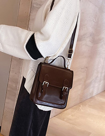 Fashion Brown Belt Buckle Stitching Backpack