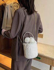 Fashion White Plush Chain Cross-body Shoulder Bag