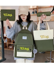 Fashion Dark Green Four-piece Backpack With Stitched Contrast Letters