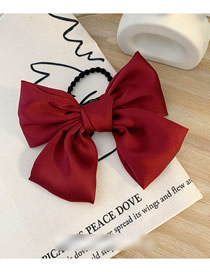 Fashion Hair Rope-wine Red Large Satin Bow Hair Rope