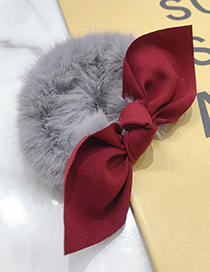 Fashion Gray Mink Hair With Contrast Bow Hair Rope