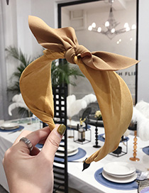 Fashion Yellow Contrast Suede Bow Wide-edged Headband