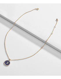 Fashion Purple Alloy Dripping Round Moon Necklace