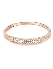 Fashion Rose Gold Alloy Double Row Bangle With Diamonds