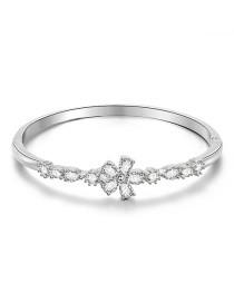Fashion Silver Geometric Bangle With Flower Drops In Diamonds