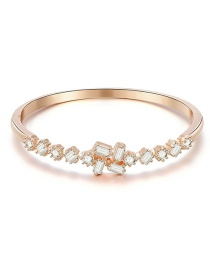 Fashion Rose Gold Alloy Rectangle Bangle With Diamonds